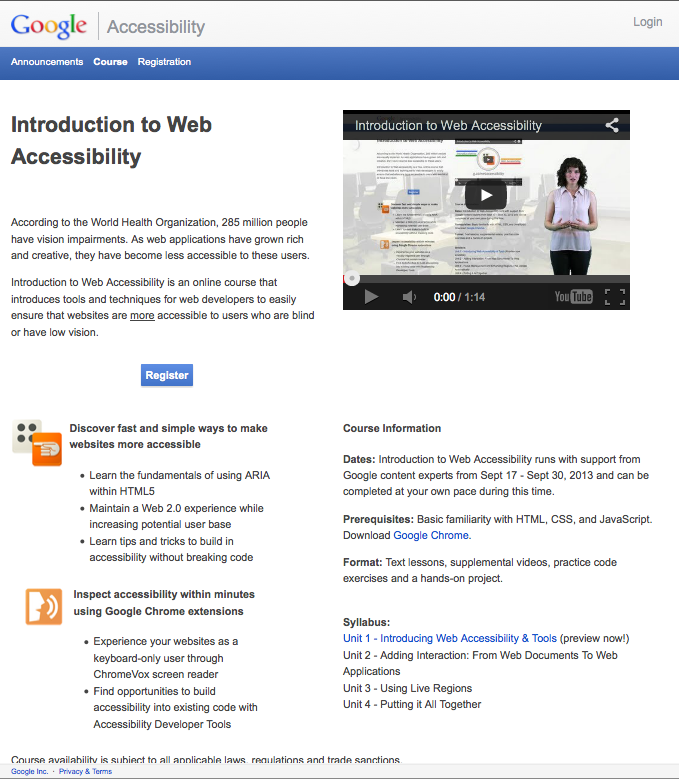 "Screenshot of Google's Intro to ""Accessibility"" course homepage."